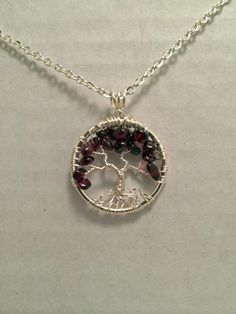 Petite Garnet Tree of Life Necklace Garnet by Just4FunDesign