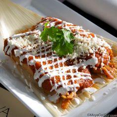 chicken tamale | smoked tomato sauce · sour cream  |  www.mayadelsol.com