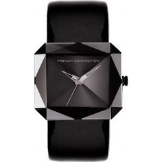 FCUK Ladies Faceted Square Dial Black Leather Strap Watch FC1019B