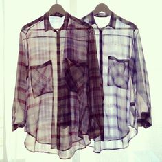 We're searching for the perfect sheer plaid button-up // #grunge