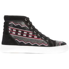 Louis Leeman Apache Straus hi-top sneakers (£640) ❤ liked on Polyvore featuring men's fashion, men's shoes, men's sneakers, black, mens high top shoes, mens black high top shoes, mens black hi top sneakers, louis leeman men's shoes and mens black shoes