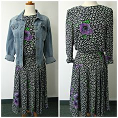 80s Black and White Floral Long Sleeved Maxi Dress With Purple Flowers SZ 6