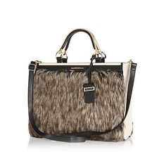 d90ea2ead8a5 Brown faux fur tote bag  90.00 River Island Bags