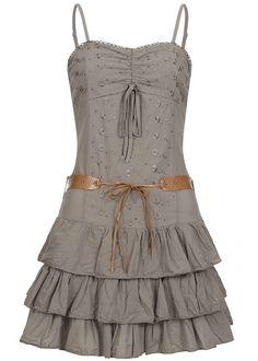 16f3f70c62ce75 Styleboom Fashion Damen Mini Spaghettiträger Kleid Blumen Stickerei mit  Gürtel fango br - 77onlineshop