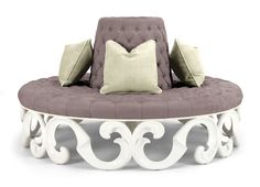 Remarkable Round Tufted Ottoman For Home Furnishings Ideas: Excellent Round Tufted Ottoman For Seating With Throw Pillows For Home Furniture Ideas