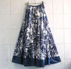 Cotton & Linen fabric long skirt / Maxi skirt / expansion skirt/summer spring fall skirt/sweep long skirt/Chinese style/floral printing on Etsy, $31.99