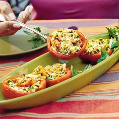 Feta-Stuffed Tomatoes    A feta cheese, breadcrumb, and fresh herb mixture fills these large tomatoes for a tasty side.