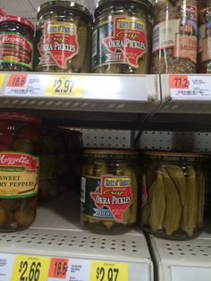 Pickled okra!!  Hot OR mild ....which to pick Always go to a super Walmart for maximum experience!!