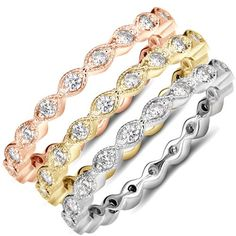 Stackable Diamond .60CT Eternity Ring Vintage Wedding Band Womens Anniversary 14K White, Yellow, Or Rose Gold by Pompeii3 on Etsy https://www.etsy.com/listing/183618234/stackable-diamond-60ct-eternity-ring