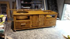 Big Green Egg table designed and built by Cowboy Builds. Custom made hardware and oversized drawers. Custom Wood Furniture, Reclaimed Wood Furniture, Big Green Egg Table, Drawers, Hardware, Outdoors, Cabinet, Storage, Design