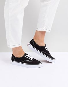 0445452c30e Vans Authentic Sneakers In Black And White Black And White Vans, Black Slip  On Shoes