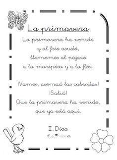 "Poema ""La primavera"", de I.Díaz School Fun, Back To School, School Stuff, Bilingual Education, Dual Language, Poetry Poem, Spanish Class, Insight, Romantic"