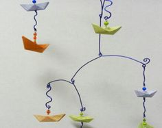 Little Boy Baby Mobile with Origami Sailboats