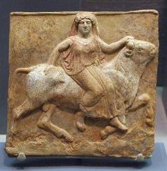 Votive Plaque: Europa and the Bull in the Princeton University Art Museum. Greek, South Italy or Sicily, ca. 475-450 BC  Painted terracotta.