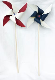 Pinwheels - Red, Off White, and Navy Blue, Patriotic, 4th Fourth of July Bbq, Stars, Military, USA, America, Picnic, 1st First Birthday Party Decor, Table Center Pieces, Favors, Decorations, Summer, Wedding, Photo Prop