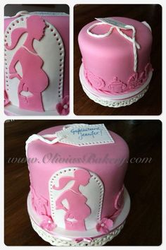 Silhouette Babyshower  Cake by Olivia's Bakery