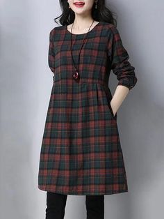 Women A-line Going out Long Sleeve Cotton Pockets Checkered/Plaid Dress Tartan Dress, Flannel Dress, Stylish Dresses For Girls, Frocks For Girls, Checkered Shirt Outfit, Cute Casual Outfits, Casual Dresses, Plaid Coton, Pakistani Fashion Party Wear