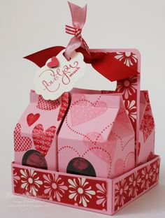 Valentine's Mini Milk Carton Carrier