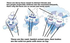 Likewise, there's a theory that the faces on Vanillite, Vanillish, and Vanilluxe are decoys, and the ice crystals seen near their false faces are their actual facial features.   23 Things You Probably Didn't Know About Pokémon Pokemon Theory, Pokemon Facts, Pokemon Memes, Pokemon Funny, Pokemon Fan Art, Cool Pokemon, Pokemon Go, Creepy Pokemon, Mudkip
