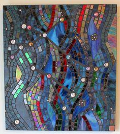Stained Glass, Mosaic Art, Astrology, Gemini, Twins, Stars, Cosmos, Swarovski Crystals, Night Sky, Blue