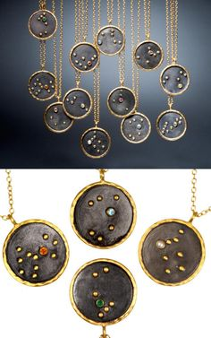 DIY Inspiration: Zodiac Constellation Necklaces by Satya Jewelry.These $98 necklaces (sold out right now), using expensive materials, would make a wonderful gift. Or you can make a much less expensive version using polymer clay and embedding beads and crystals into the surface. If you do use polymer clay remember that anything it touches while unbaked can never be used with or on food again.For other unique zodiac and constellation DIYs go here.You can download this zodiac chart by Gloria…