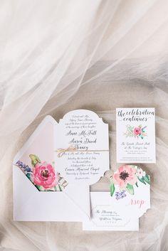 Watercolor Floral Print Wedding Invitations | Audrey Rose Photography | http://heyweddinglady.com/playful-elegant-southern-blush-wedding-floral-print/