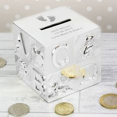 You can personalise this Footprint Motif, ABC Money Box with any message over 3 lines of text with up to 25 characters per line for a truly unique gift.   The money box comes with  a bung in the bottom so you can easily get at your money.