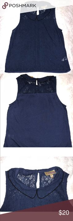 Navy Blue Lace Blouse W/Beaded Collar -Navy blue lace material  -beaded collar  -perfect condition Tops Blouses