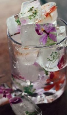 Pretty herbs and flowers frozen in oversized ice cubes look fresh and pretty in summer cocktails!