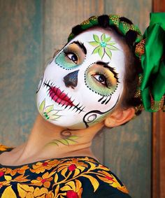 Spring colored Calavera sugar skull makeup for Mexican Day of the Dead