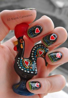 Portuguese lucky rooster nail art >> Loving these nails! Get Nails, Fancy Nails, Love Nails, How To Do Nails, Pretty Nails, Hair And Nails, Gorgeous Nails, Nails Ideias, Do It Yourself Nails