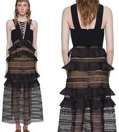 Black Lace Tie-Up Front Long Dress