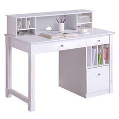 Walker Edison Deluxe Wood Desk w/ Hutch - White by Walker Edison