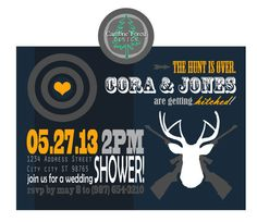 Custom Wedding SHOWER INVITATION DESIGN  Hunting by CaimbrieForest