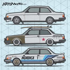 Volvo 200 Series Coupe t-shirt prints now available at Artsmoto.com #Volvo240 #Volvo244 Volvo245