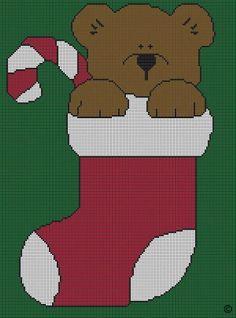 TEDDY BEAR CHRISTMAS STOCKING CROCHET PATTERN AFGHAN GRAPH #1013 | crochetpatternsetc - Patterns on ArtFire