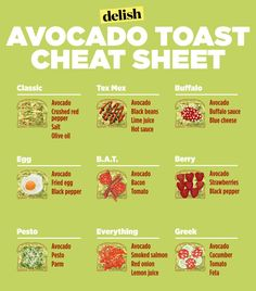 Plus - Avocado/roasted garlic/hemp seeds salt/pepper on homemade breat! Our Avocado Toast Cheat Sheet Will Keep You Slim All Year Long Avocado Dessert, Avocado Smoothie, Avocado Toast Healthy, Best Avocado Toast Recipe, Avocado Toast With Egg, Food With Avacado, Avacado Snacks, Simple Avocado Toast, Tex Mex