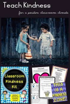 Teach kindness for a positive classroom climate - Kindness activities, posters, random acts of kindness slips, journals, kindness contract, and more. All to promote kindness and friendliness in the classroom.