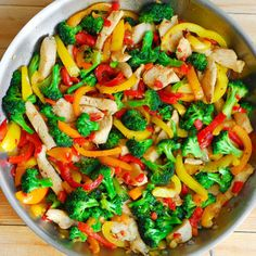 """Easy Chicken and Vegetables Stir Fry is quick and healthy recipe is done in less in 30 minutes! It's free of corn starch, MSG and any other unhealthy """"ingredients"""" you would normally get in your stir Asian Vegetables, Fried Vegetables, Healthy Vegetables, Chicken And Vegetables, Veggies, Healthy Chicken Recipes, Asian Recipes, Cooking Recipes, Wok Recipes"""