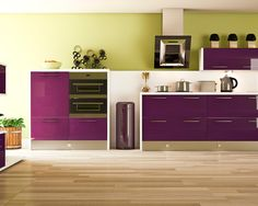 Aubergine Kitchen Accent Color With Contemporary Style Also Unique Exhaust  Hood Design Also Modern Stove