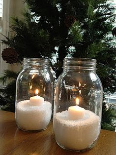 """Epsom salt """"snow"""" and a candle = instant cute winter decoration!"""