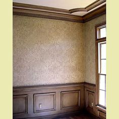 damask stencil--want to do this in the bedroom with clear glaze instead of paint, for depth/texture but keep neutral color.