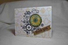 Hero Arts Card using Fancy Keys background stamp and Watch gears stamp. Universal for anyone!
