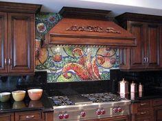 Susan Jablon's Amazing Tile Gallery presents the Renate Mosaic Tile Kitchen Backsplash. This is an amazing sample of what you can do with your artistic abilities and Susan Jablon's glass mosaic tiles. Kitchen Backsplash Images, Kitchen Mosaic, Mosaic Backsplash, Mosaic Tiles, Backsplash Ideas, Backsplash Design, Tile Art, Small Marble Kitchens, Mosaic Glass