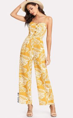 b7ca443def9 Shop Palm Leaf Print Shirred Back Cami Palazzo Jumpsuit online. SHEIN  offers Palm Leaf Print Shirred Back Cami Palazzo Jumpsuit   more to fit  your ...
