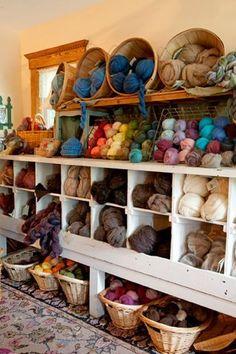 yarn display, I would love this in my dream craft room! Knitting Room, Knitting Storage, Yarn Storage, Craft Storage, Knitting Yarn, Wool Shop, Yarn Shop, Yarn Display, Yarn Organization