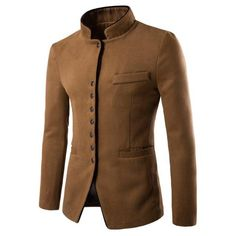 New style autumn winter men casual suit men pop Stand collar Worsted Fabric pocket Button decorate men's Leisure suit coat 162 Blazers For Men Casual, Casual Blazer, Casual Suit, Casual Jackets, Casual Wear, Mode Masculine, Chinese Suit, Chinese Style, Suit Fashion