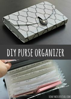 Make a stylish purse organizer for date night essentials with this DIY project! #BeHealthyForEveryPartofLife AD Turn a coupon organizer into a purse organizer.