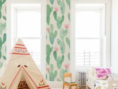 Spineless Cacti Removable Wallpaper | COLORAYdecor.com