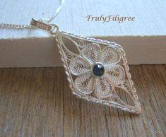 Filigree Pendant, Handmade Jewelry, Silver Pendant,Blue Rhinestone,Silver Filigree
